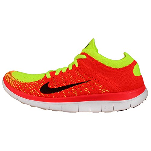 Nike Women's Wmns Free 4.0 Flyknit, VOLT/BLACK-BRIGHT CRIMSON, 9 US