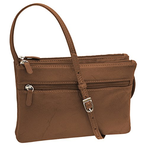 Leather Triple Compartment Laptop Bag (ili 6516 Leather Triple Compartment Crossbody Handbag)