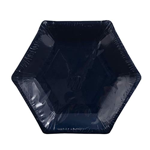 """Home Expressions 10 Pack Hexagon Shaped Disposable Paper Party Plates (Navy, 9"""" Dinner)"""