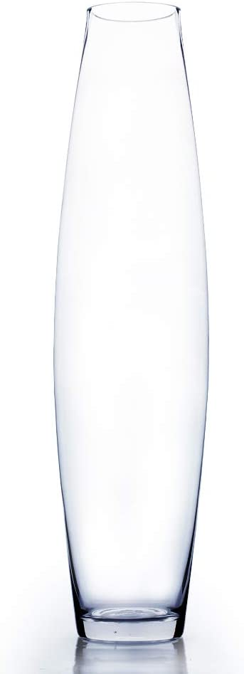 """WGV Tall Bullet Glass Vase, Width 6"""", Height 24"""", (Multiple Sizes Choices) Clear Oval Urn Floral Planter Container Storage Centerpiece, Wedding Event Home Decor, 1 Piece (VFV0424)"""
