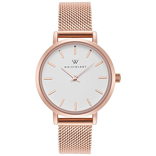 WRISTOLOGY Charlotte Womens Watch Rose Gold Metal Mesh Ladies Changeable Strap Band ()