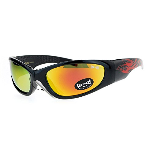 Choppers Mirrored Eagle Flame Arm Warp Classic Oval Sunglasses - Sunglasses Flame