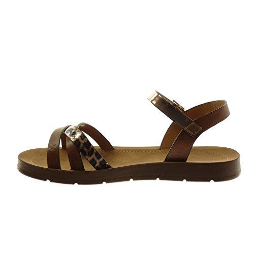 Lanière Compensé Serpent bride Camel Femme Cm Cheville Peau Talon Angkorly 2 De Chaussure Sandale Multi Mode ZBq7nx