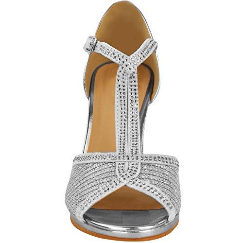 Argento Da Ballo Donna metallizzato Taglia Sposa Sandali Tacco Festa Scarpe Diamante Alto v5aCq