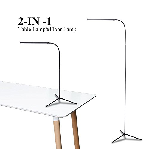 LED Floor Lamp Standing Reading Light, Dimmable Adjustable Desk Table Lamp (2 Color Temperatures 2 Brightness, 8W, Floor Light for Living Room, Bedroom, Office) Black by Liteet