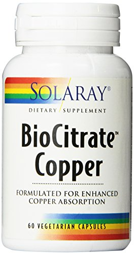 Solaray Biocitrate Copper Supplement, 2mg, 60 Count