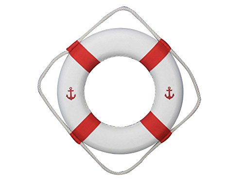 Hampton Nautical  Classic White Decorative Anchor Life Ring with Red Bands, (Decorative Life)