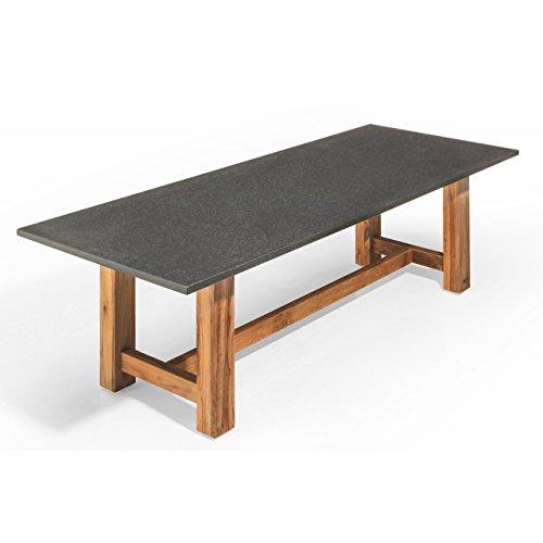 Studio 20 Voss Gartentisch 300 x 100 x 75 cm Outdoortisch Granittisch Teakholz Tischplatte Pearl grey satiniert