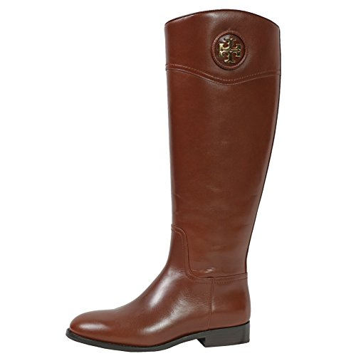 Tory Burch Boots Ashlynn Venus Leather Riding Boot Flat (7.5, Almond)