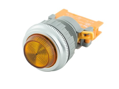 Alpinetech PLN-30 Amber 30mm 120V AC/DC LED Pilot Indicator Light - Amber Pilot Light