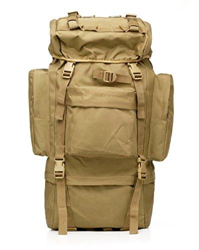 65L Reise Sport Outdoors Camping Wandern Bag Kampf Military Tactical Bergsteiger Rucksack mit Regen Abdeckung für Männer Große (Mud Color)