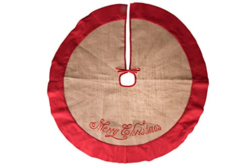Clever Creations Burlap Christmas Tree Skirt Red Border and Embroidered with Merry Christmas | Traditional Theme Festive Holiday Design | Contain Needle and Sap Mess on Floor | 40