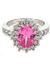 The Royal Engagement Ring w/Pink Sapphire CZ & pav?White