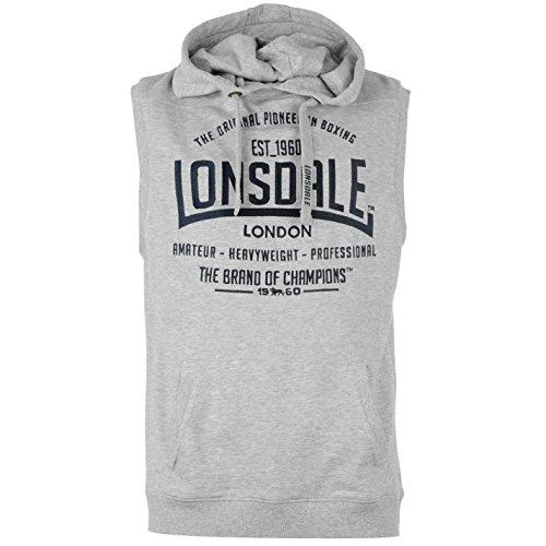Lonsdale Mens Box Sleeveless Hooded Top Hoodie Hoody Zip Drawstring Elasticated