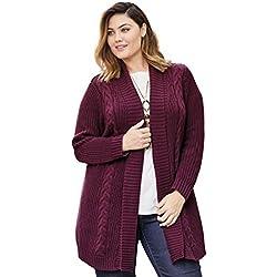 Women's Plus Size Cable Trim Cardigan
