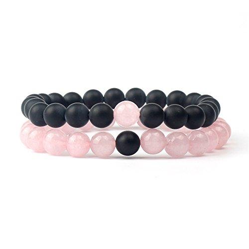 Agate Quartz Bracelet (Friendship Couples Unisex 8mm Natural Stone Beaded Bracelets Mala Bead Gemstone Bracelet, Pack of 2, Rose Quartz and Black Onyx)