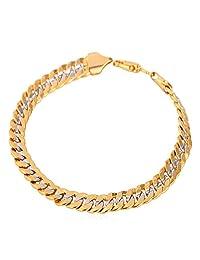 U7 Two Tone Gold Bracelet '18K' Real Gold Plated Men Jewelry 6 MM 21 CM Cuban Chain Bracelet