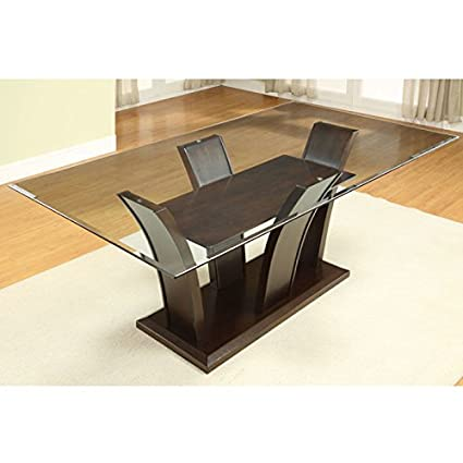 Amazoncom Gretchen Rectangular Glass Top Dining Table Tables - Glass-topped-dining-room-tables