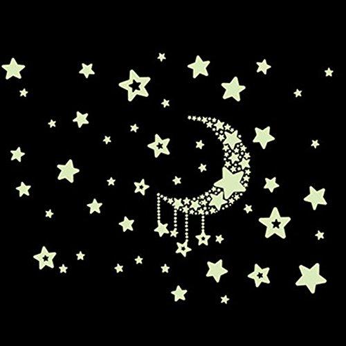 Bhbuy Glow in the Dark Fluorescent Moon Star Baby Kid Bedroom Wall Sticker