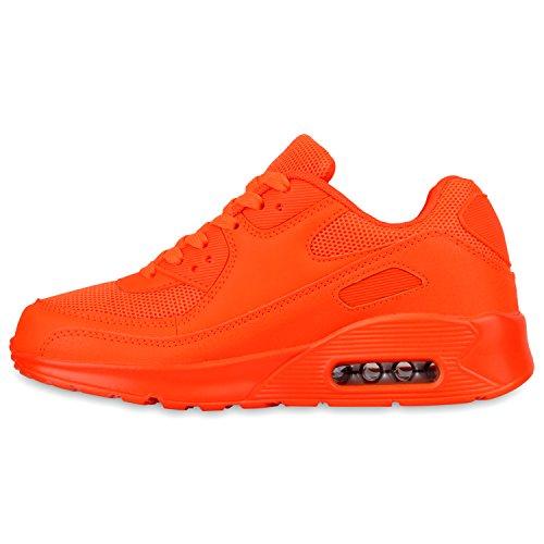 Stiefelparadies Damen Sportschuhe Lack Muster Sneakers Profilsohle Schnürer Sneaker Low Laufschuhe Runners Metallic Neon Leder-Optik Camouflage Glitzer Schuhe Flandell Neonorange
