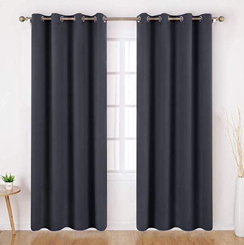 HOMEIDEAS Dark Grey/Gray Blackout Curtains 84 Inches Long 2 Panels Room Darkening Curtains/Drapes, Thermal Insulated Solid Grommet Window Curtains for Kids Bedroom & Living Room, 52 x 84 Inches (Length 84 Curtains Blackout)