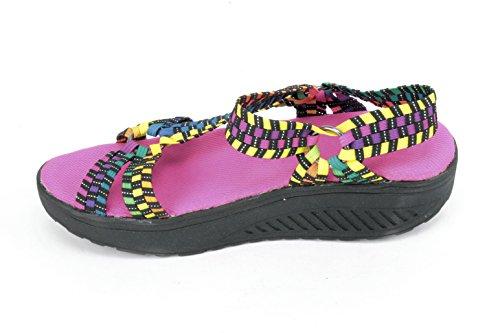 Corkys Quickstep Kvinner Åpen Tå Lerretet Svart Sport Sandal Multi-farge