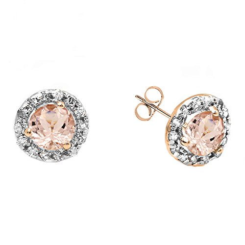 14K Rose Gold Round Morganite & White Diamond Ladies Halo Style Stud Earrings by DazzlingRock Collection