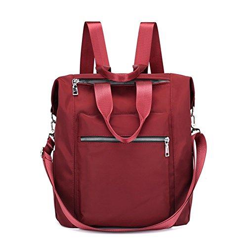 Mynos Backpack Women Casual Shoulder Bag Multifunction Waterproof Travel Rucksack Purse and Handbag (Red) by Mynos