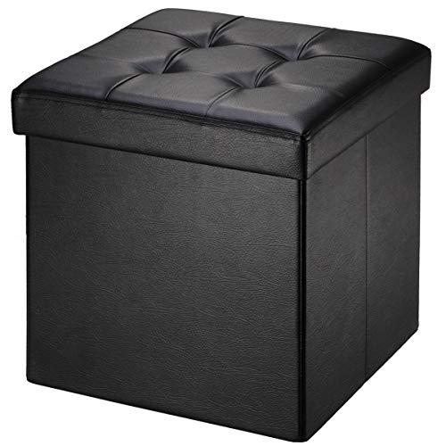 BRIAN & DANY Baúl Puff Taburete Plegable de Almacenamiento Banco Otomano Asiento, Piel sintética, 38 x 38 x 38 cm, Negro