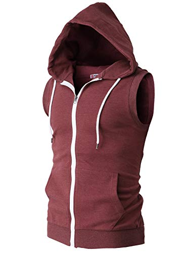 H2H Mens Active Casual Blocks Sleeveless Hoodie Zip-up Vest Maroon US XL/Asia 2XL (CMOHOSL08)