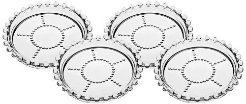 - Godinger Silver Art Chesterfield Pearl Design Non-leaded Crystal Drink Beverage Coasters, Set of 4