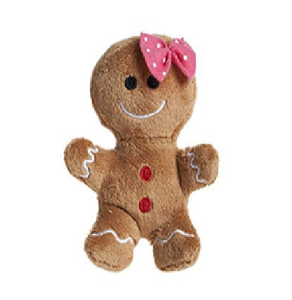 (Toyland 10cm Plush Gingerbread Man Plush with Pink Bow - Christmas Plush - Christmas Decorations)