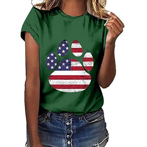 e Cartoon American Flag Print Short Sleeve T-Shirt Blouse Top Green ()