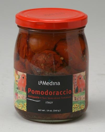 Pomodoraccio - LaMedina Sun Semi-Dried Tomatoes (Antipasto)- Each Jar is 19oz (6 pack) by La Medina
