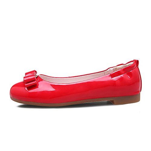 VogueZone009 Damen PU Leder Eingelegt Ziehen auf Rund Zehe Niedriger Absatz  Pumps Schuhe Rot ...