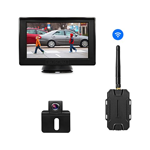 BOSCAM Wireless Backup Camera Kit, 4.3 Inches LCD Rear View Monitor, Universal Waterproof Reverse Rear View License Plate Back up Car Camera for Cars,Vans,Trucks,RVs,Caravan,Trailers,Camper