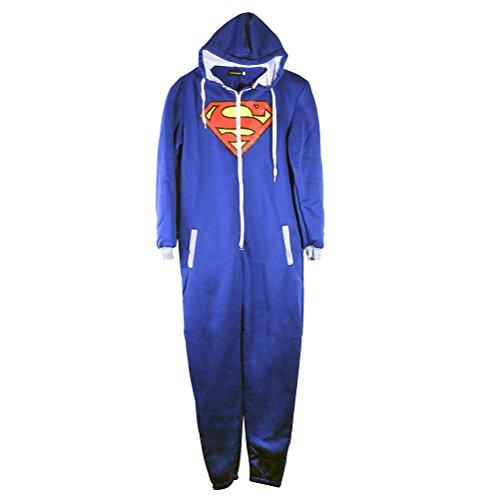 Suit Onesie Mens (URAQT Unisex Batman Superman Print Hooded Zip Front All In One Piece Onesie Jumpsuit)