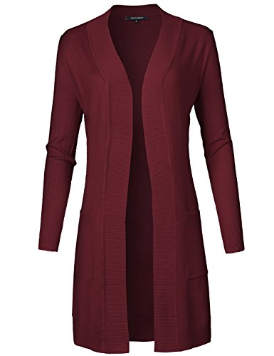 (Solid Soft Stretch Longline Long Sleeve Open Front Knit Cardigan Burgundy Size)
