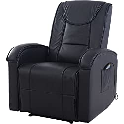 Giantex Ergonomic Massage Sofa Chair Electric Vibrating Recliner Lounge w/Control (Massage Function, Black)