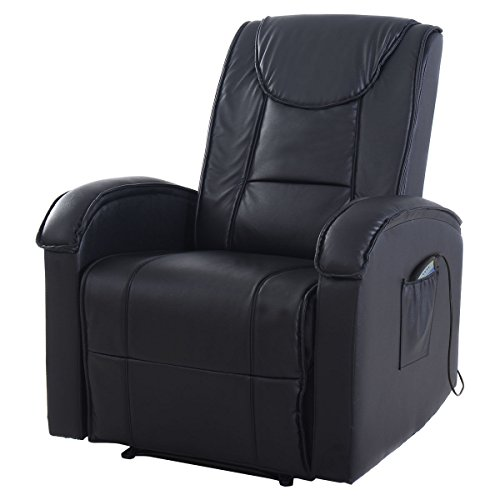 Giantex Ergonomic Massage Sofa Chair Electric Vibrating Recliner Lounge w/Control (Massage Function, Black)