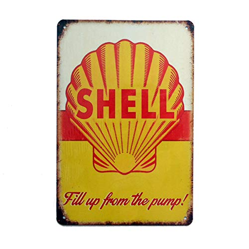 Vintage Shell - PEI's Retro Vintage Tin Metal Sign, Shell Motor Oil Gasoline, Wall Decor for Home Garage Bar Man Cave, 8x12/20x30cm