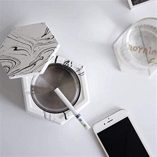 葉巻灰皿, NXiang灰皿クリエイティブパーソナリティオフィスホームヨーロピアンインスタイルホーム、オフィスでの使用のために(カバーライナー取り外し可能で)カバーステンレス鋼の理想のセラミック大型セメント、購入する歓迎、カラー:ホワイト (Color : White)