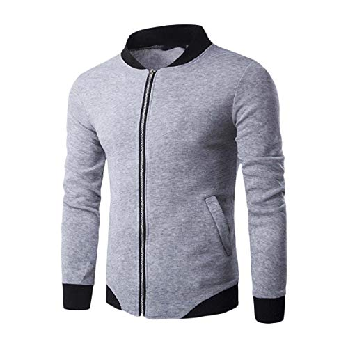 Men Grey Jackets Slim Fit Howme Varsity Up Warm Light Zip Sport Baseball Fall dxwA7afAq