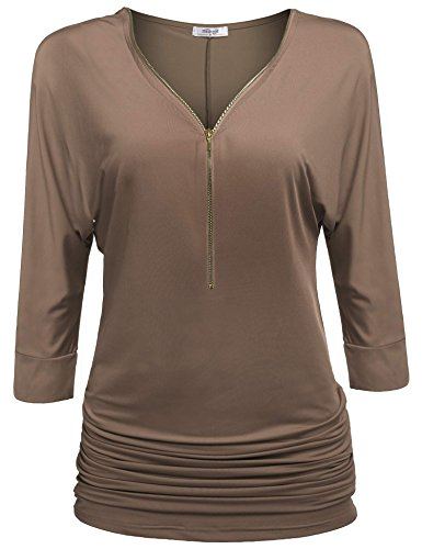 Stretch Shirred Jersey Top (Meaneor Women's 3/4 Sleeve Loose Fit Zip Front Drape Knit Jersey Top Camel M)