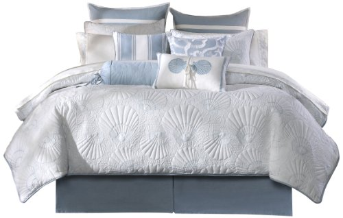 Harbor House Crystal Beach Cal King Size Bed Comforter Set - Pale Blue, Quilted Coastal Seashells - 4 Pieces Bedding Sets - 100% Cotton Bedroom Comforters 4 Piece Cal King Comforter