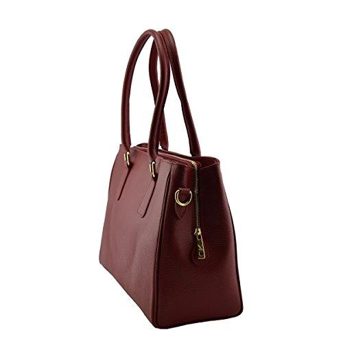 Handtasche Leder Bordeaux Echtem Lederwaren Damentasche Farbe Aus Italienische gqwRgr