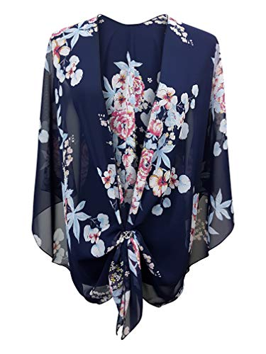 (eXcaped Women's Evening Shawl Wrap Sheer Chiffon Open Front Cape with Silver Scarf Ring (Peony Bouquet))