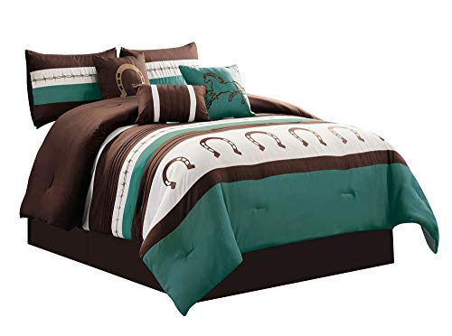 (WPM WORLD PRODUCTS MART 7 Piece Rustic Comforter Set. Brown/Beige/Teal Horseshoe, Horse, Barb Wired Embroidered Bed in a Bag Western Cowboy Bedding Set- JENA (Teal,)