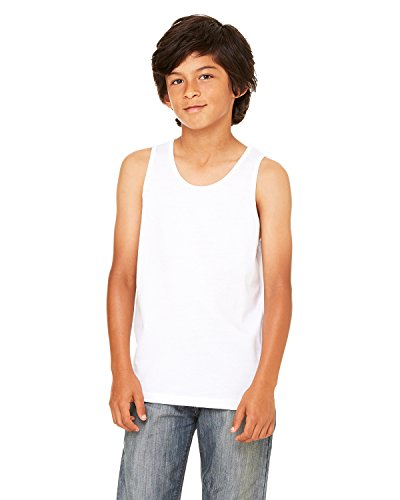 (Bella Canvas Youth Jersey Tank, White, Medium)