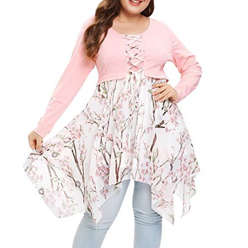 Keliay Bargain Fashion Women O-Neck Long Sleeve Cross Ribbons Floral Print Patchwork Mini Dress